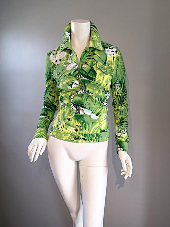 Amazing New ESCADA Green + White ' Palm Trees ' White Denim Jacket  For Sale 1