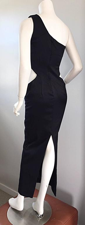 1990s Black Vintage One Shoulder Sexy Cut - Out BodyCon 90s Grecian Dress  5