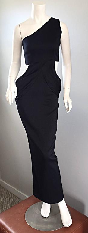 1990s Black Vintage One Shoulder Sexy Cut - Out BodyCon 90s Grecian Dress  2