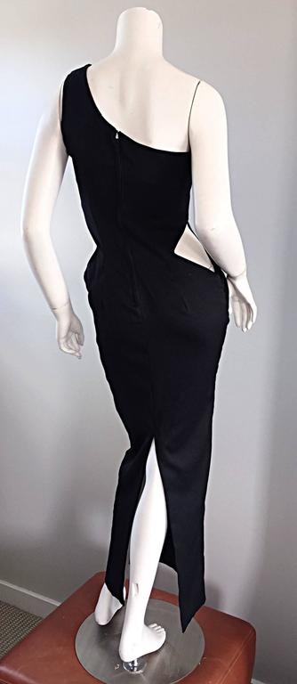 1990s Black Vintage One Shoulder Sexy Cut - Out BodyCon 90s Grecian Dress  4