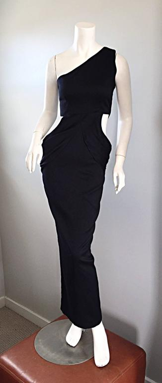 1990s Black Vintage One Shoulder Sexy Cut - Out BodyCon 90s Grecian Dress  6