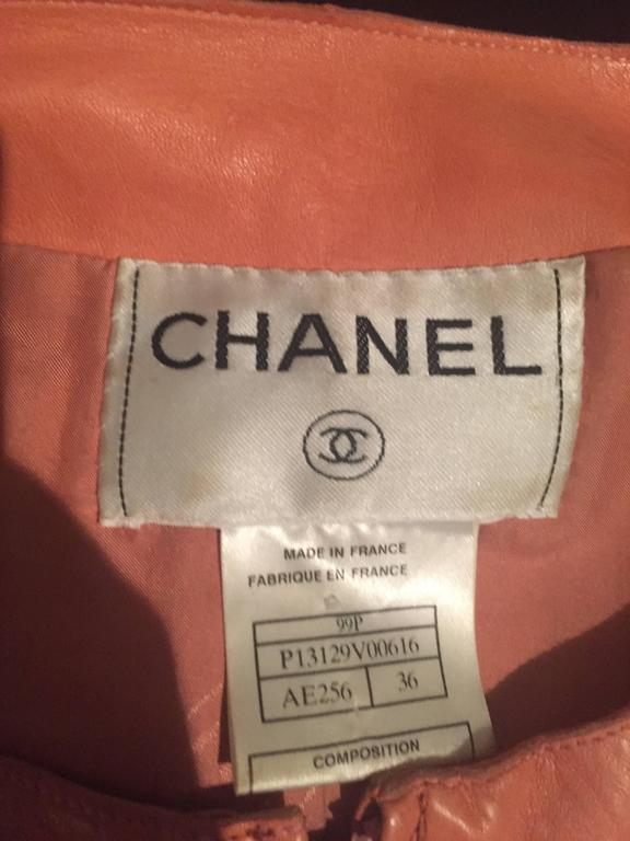 Chanel Pink Leather Jacket Spring Summer 1999 Rare Vintage Runway Piece  9
