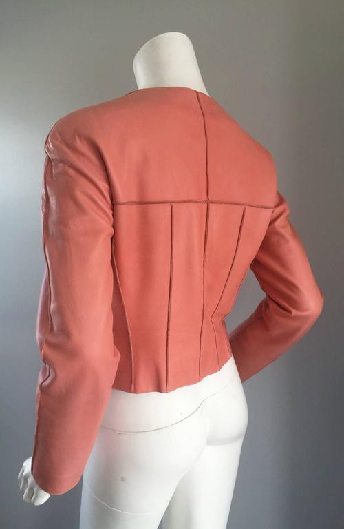Chanel Pink Leather Jacket Spring Summer 1999 Rare Vintage Runway Piece  7