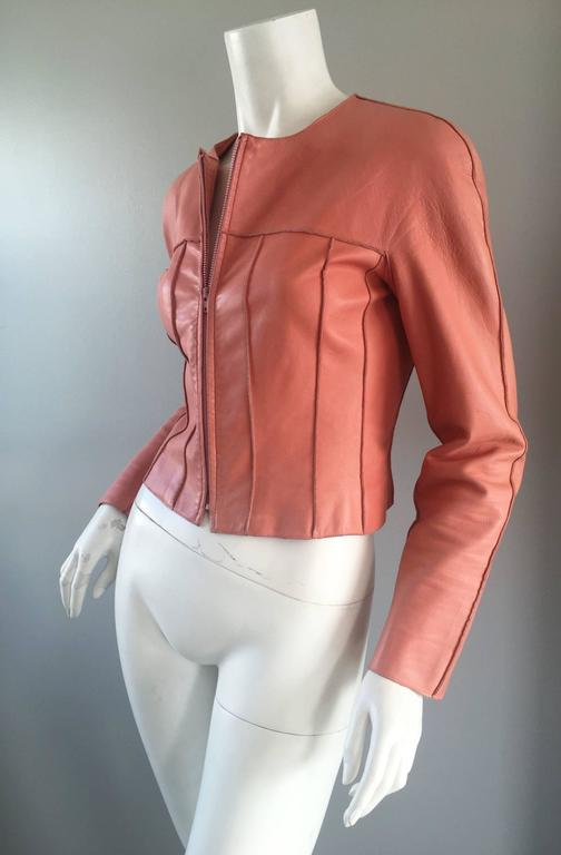 Chanel Pink Leather Jacket Spring Summer 1999 Rare Vintage Runway Piece  4
