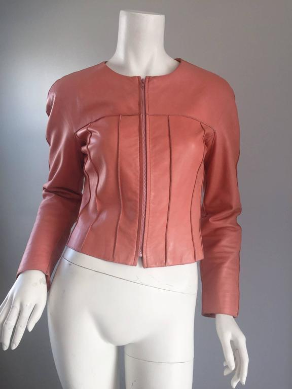 Chanel Pink Leather Jacket Spring Summer 1999 Rare Vintage Runway Piece  3