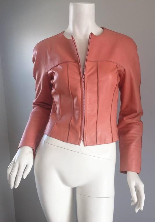 Chanel Pink Leather Jacket Spring Summer 1999 Rare Vintage Runway Piece  2
