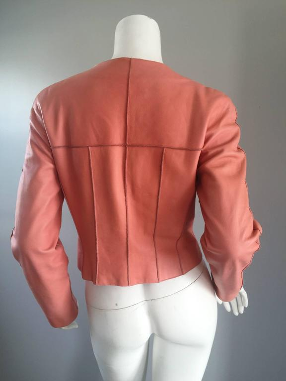 Chanel Pink Leather Jacket Spring Summer 1999 Rare Vintage Runway Piece  6