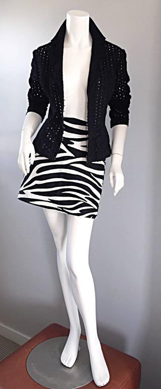 Brand New Celine by Phoebe Philo Black and White Zebra Print A - Line Mini Skirt 6