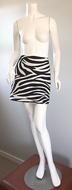 Brand New Celine by Phoebe Philo Black and White Zebra Print A - Line Mini Skirt 2