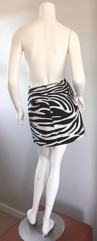 Brand New Celine by Phoebe Philo Black and White Zebra Print A - Line Mini Skirt 5