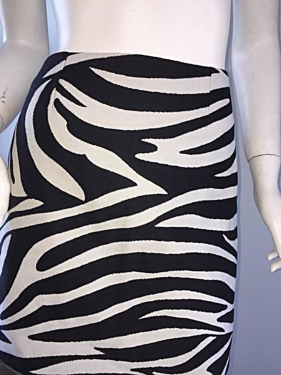 Brand New Celine by Phoebe Philo Black and White Zebra Print A - Line Mini Skirt 7