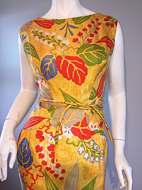1950s Adele Simpson Vintage ' Leaves + Flowers ' Yellow Colorful Silk 50s Dress  3