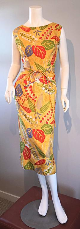 1950s Adele Simpson Vintage ' Leaves + Flowers ' Yellow Colorful Silk 50s Dress  4