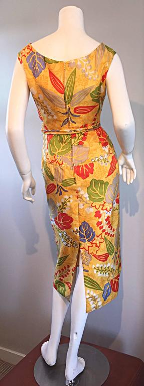 1950s Adele Simpson Vintage ' Leaves + Flowers ' Yellow Colorful Silk 50s Dress  5