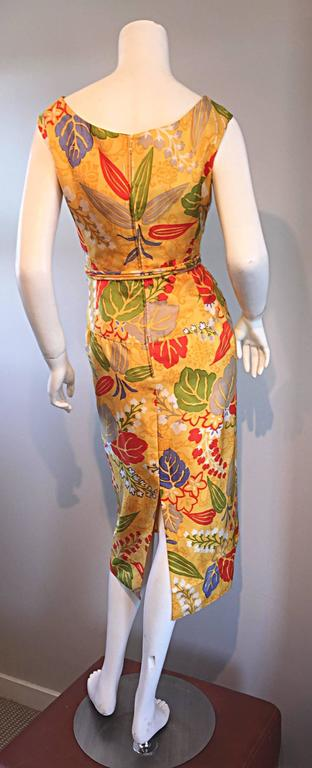 1950s Adele Simpson Vintage ' Leaves + Flowers ' Yellow Colorful Silk 50s Dress  7