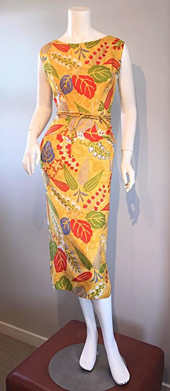 1950s Adele Simpson Vintage ' Leaves + Flowers ' Yellow Colorful Silk 50s Dress  2