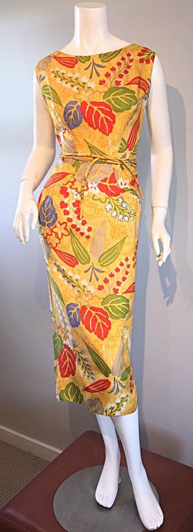 1950s Adele Simpson Vintage ' Leaves + Flowers ' Yellow Colorful Silk 50s Dress  9