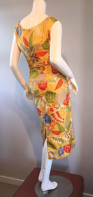 1950s Adele Simpson Vintage ' Leaves + Flowers ' Yellow Colorful Silk 50s Dress  8