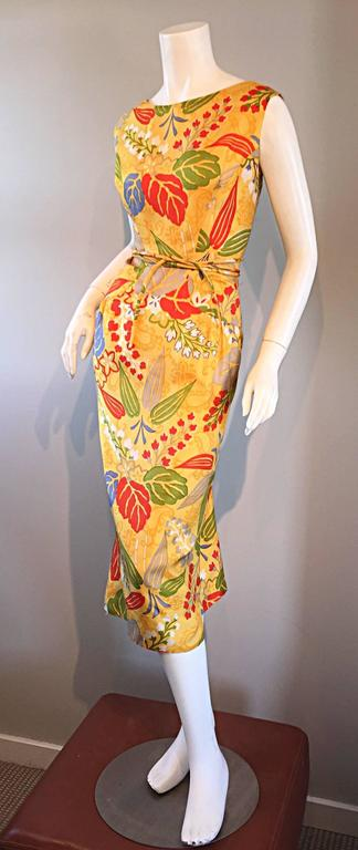 1950s Adele Simpson Vintage ' Leaves + Flowers ' Yellow Colorful Silk 50s Dress  6