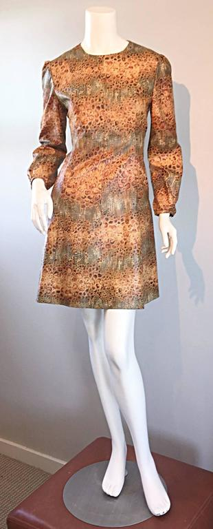 1960s Alligator + Snake Reptile Print Vintage A - Line 60s Brown Mod Dress For Sale 6