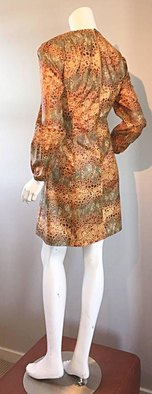 1960s Alligator + Snake Reptile Print Vintage A - Line 60s Brown Mod Dress For Sale 3