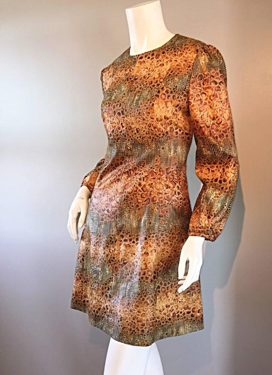 1960s Alligator + Snake Reptile Print Vintage A - Line 60s Brown Mod Dress For Sale 1