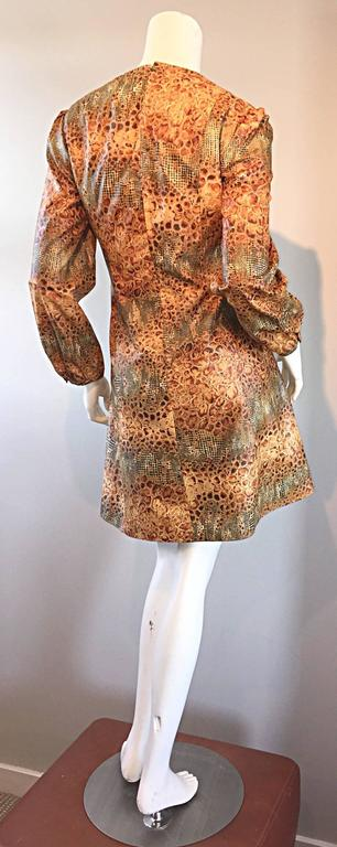1960s Alligator + Snake Reptile Print Vintage A - Line 60s Brown Mod Dress For Sale 4