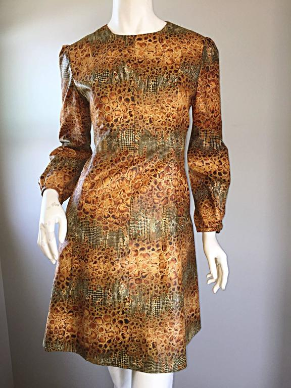 1960s Alligator + Snake Reptile Print Vintage A - Line 60s Brown Mod Dress For Sale 5