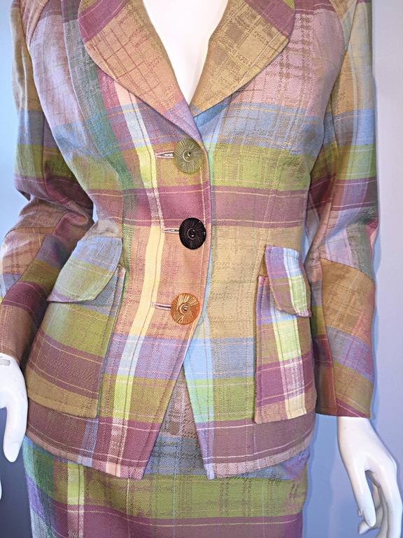 christian lacroix 1990s 90s asymmetrical plaid pastel vintage skirt suit for sale at 1stdibs. Black Bedroom Furniture Sets. Home Design Ideas