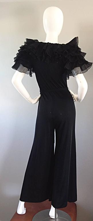 Women's Exquisite Vintage Mignon Black Chiffon Sleeves Jersey Belted Wide Leg Jumpsuit For Sale