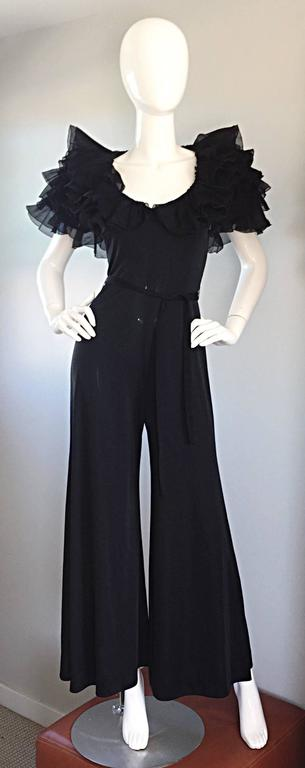 Exquisite Vintage Mignon Black Chiffon Sleeves Jersey Belted Wide Leg Jumpsuit For Sale 5