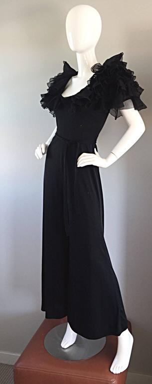Exquisite Vintage Mignon Black Chiffon Sleeves Jersey Belted Wide Leg Jumpsuit For Sale 4