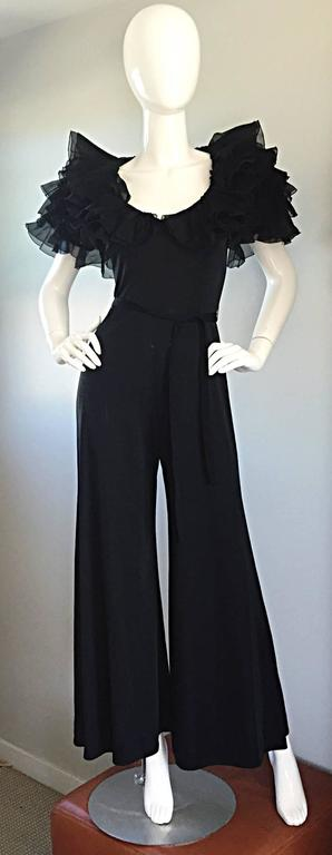 Exquisite Vintage Mignon Black Chiffon Sleeves Jersey Belted Wide Leg Jumpsuit For Sale 1