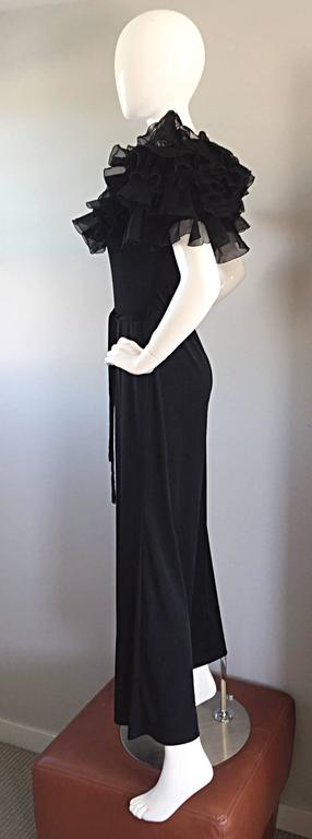 Exquisite Vintage Mignon Black Chiffon Sleeves Jersey Belted Wide Leg Jumpsuit For Sale 3