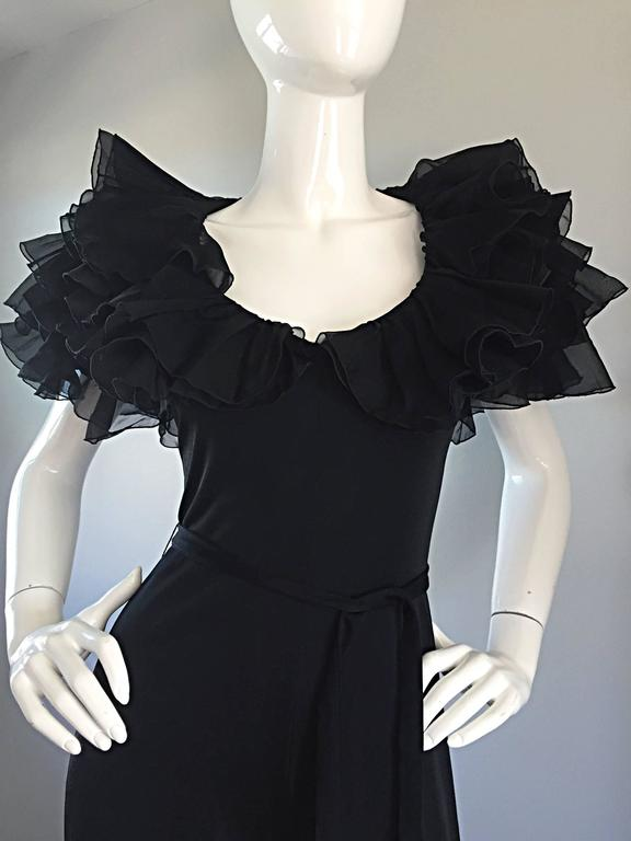 Exquisite Vintage Mignon Black Chiffon Sleeves Jersey Belted Wide Leg Jumpsuit In Excellent Condition For Sale In Chicago, IL