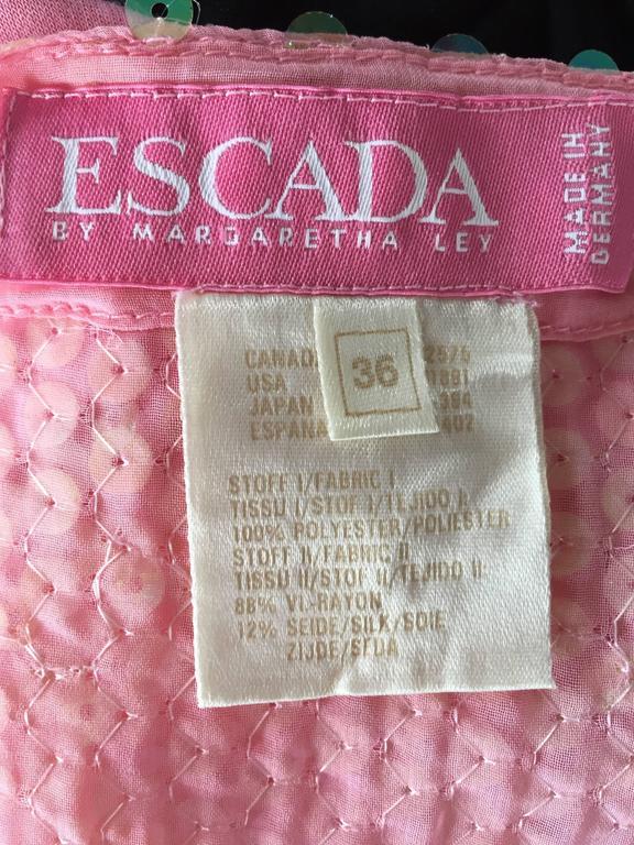 Vintage ESCADA by Margaretha Ley Pink Sequined Silk Bodysuit Leotard Onesie 10