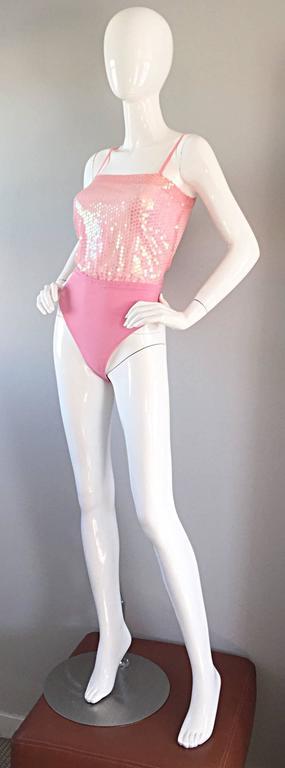 Vintage ESCADA by Margaretha Ley Pink Sequined Silk Bodysuit Leotard Onesie For Sale 1