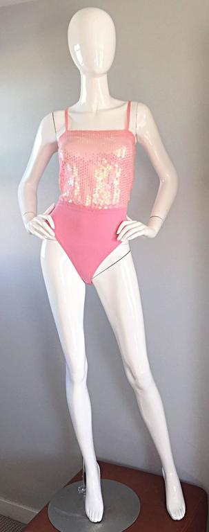 Vintage ESCADA by Margaretha Ley Pink Sequined Silk Bodysuit Leotard Onesie For Sale 5