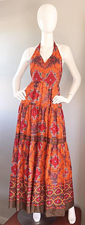 1970s Frank Usher of London Couture Boho Ethnic Tribal Print Halter Maxi Dress For Sale 4
