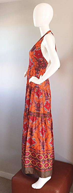 1970s Frank Usher of London Couture Boho Ethnic Tribal Print Halter Maxi Dress For Sale 3
