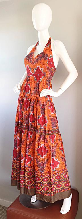 Women's 1970s Frank Usher of London Couture Boho Ethnic Tribal Print Halter Maxi Dress For Sale