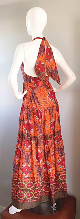 Brown 1970s Frank Usher of London Couture Boho Ethnic Tribal Print Halter Maxi Dress For Sale