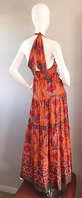 1970s Frank Usher of London Couture Boho Ethnic Tribal Print Halter Maxi Dress For Sale 2