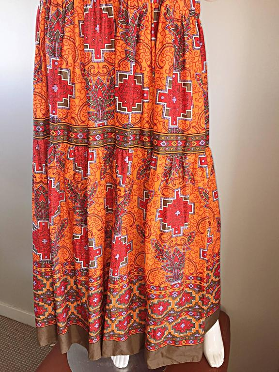 1970s Frank Usher of London Couture Boho Ethnic Tribal Print Halter Maxi Dress For Sale 1