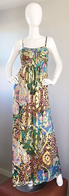 Fantastic vintage OLEG CASSINI (brand new with original tags) silk empire gown! Fabulous abstract floral print, mixed with pink and brown leopard prints throughout. Flattering empire fit, with a Grecian feel. Rushed bust, with straps that can adjust