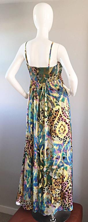 Vintage Oleg Cassini Multi Print Leopard Metallic Floral Abstract Empire Dress For Sale 2