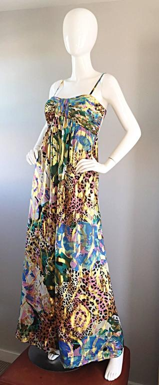 Brown Vintage Oleg Cassini Multi Print Leopard Metallic Floral Abstract Empire Dress For Sale