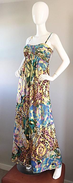 Vintage Oleg Cassini Multi Print Leopard Metallic Floral Abstract Empire Dress For Sale 4
