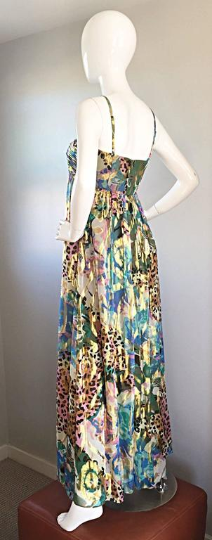 Vintage Oleg Cassini Multi Print Leopard Metallic Floral Abstract Empire Dress In New never worn Condition For Sale In San Francisco, CA