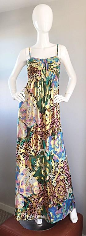 Vintage Oleg Cassini Multi Print Leopard Metallic Floral Abstract Empire Dress For Sale 5
